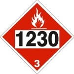 DOT PLACARD 1230 METHANOL, Flammable Liquid, Class 3 - Choose from 4 Materials: Pressure Sensitive Vinyl, Rigid Plastic, Aluminum or Magnetic