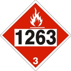 DOT PLACARD 1263 PAINT (FLAMMABLE), CLASS 3 - Choose from 4 Materials: Pressure Sensitive Vinyl, Rigid Plastic, Aluminum or Magnetic