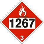 DOT PLACARD 1267 PETROLEUM CRUDE OIL, Flammable Liquid, Class 3 - Choose from 4 Materials: Press On Vinyl, Rigid Plastic, Aluminum or Magnetic