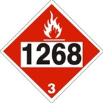DOT PLACARD 1268 PETROLEUM DISTILLATES n.o.s., Flammable Liquid, Class 3 - Choose from 4 Materials: Press On Vinyl, Rigid Plastic, Aluminum or Magnetic