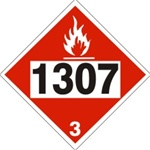 DOT PLACARD 1307 XYLENES, Flammable Liquid, Class 3 - Choose from 4 Materials: Press On Vinyl, Rigid Plastic, Aluminum or Magnetic