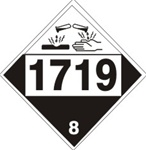 DOT PLACARD 1719 CAUSTIC ALKALI LIQUIDS. N.O.S., Corrosive, Class 8 - Choose from 4 Materials: Press On Vinyl, Rigid Plastic, Aluminum or Magnetic