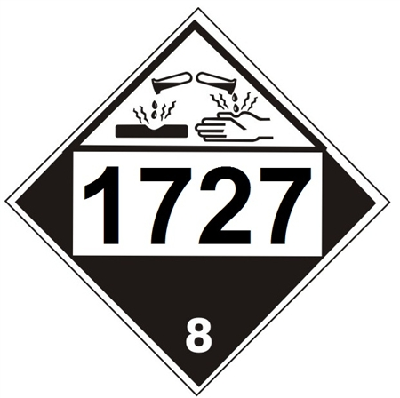 DOT PLACARD 1727 AMMONIUM HYDROGENDIFLUORIDE, SOLID, Corrosive, Class 8 - Choose from 4 Materials: Press On Vinyl, Rigid Plastic, Aluminum or Magnetic