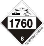 DOT PLACARD 1760 CORROSIVE LIQUIDS, COMPOUNDS, CLEANING LIQUID n.o.s., Corrosive, Class 8 - Choose from 4 Materials: Press On Vinyl, Rigid Plastic, Aluminum or Magnetic