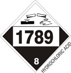 DOT PLACARD 1789 HYDROCHLORIC ACID, Corrosive, Class 8 - Choose from 4 Materials: Press On Vinyl, Rigid Plastic, Aluminum or Magnetic