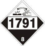 DOT PLACARD 1791 HYPOCHLORITE SOLUTIONS, Corrosive, Class 8 - Choose from 4 Materials: Pressure Sensitive Vinyl, Rigid Plastic, Aluminum or Magnetic