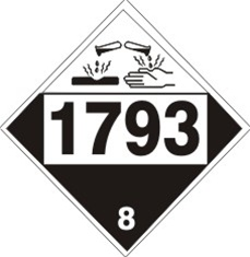DOT PLACARD 1793 ISOPROPYL ACID PHOSPHATE, Corrosive, Class 8 - Choose from 4 Materials: Pressure Sensitive Vinyl, Rigid Plastic, Aluminum or Magnetic