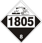 DOT PLACARD 1805 PHOSPHORIC ACID, Corrosive, Class 8 - Choose from 4 Materials: Press On Vinyl, Rigid Plastic, Aluminum or Magnetic