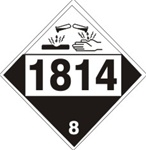 DOT PLACARD 1814 POTASSIUM HYDROXIDE, SOLUTION, Corrosive, Class 8 - Choose from 4 Materials: Press On Vinyl, Rigid Plastic, Aluminum or Magnetic