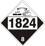 DOT PLACARD 1824 SODIUM HYDROXIDE SOLUTION, Corrosive, Class 8 - Choose from 4 Materials: Press On Vinyl, Rigid Plastic, Aluminum or Magnetic