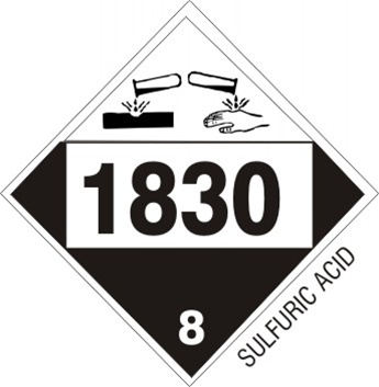 DOT PLACARD 1830 SULFURIC ACID, Corrosive, Class 8 - Choose from 4 Materials: Press On Vinyl, Rigid Plastic, Aluminum or Magnetic