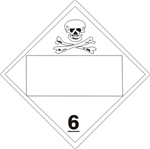 DOT PLACARD POISON (BLANK 4 DIGIT BOX) CLASS 6, Choose from 4 Materials: Press On Vinyl, Rigid Plastic, Aluminum or Magnetic