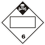 BLANK 4 DIGIT DOT PLACARD INHALATION HAZARD CLASS 6, Choose from 4 Materials: Press on Vinyl, Rigid Plastic, Aluminum or Magnetic.