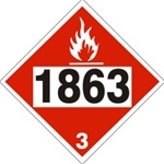DOT PLACARD 1863 FUEL, AVIATION, TURBINE ENGINE, Flammable liquid, Class 3 - Choose from 4 Materials: Press On Vinyl, Rigid Plastic, Aluminum or Magnetic