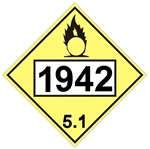 DOT PLACARD 1942 AMMONIUM NITRATE, Oxidizer, Class 5.1 - Choose from 4 Materials: Press On Vinyl, Rigid Plastic, Aluminum or Magnetic