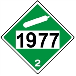 DOT PLACARD 1977, NITROGEN, Refrigerated Cryogenic Liquid, Non Flammable Gas, Class 2 - Choose from 4 Materials: Press On Vinyl, Rigid Plastic, Aluminum or Magnetic
