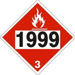 DOT PLACARD 1999 TARS, LIQUID, Flammable liquid, Class 3 - Choose from 4 Materials: Press On Vinyl, Rigid Plastic, Aluminum or Magnetic