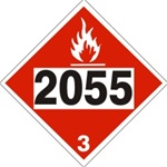 DOT PLACARD 2055 STYRENE MONOMER, STABILIZER, Flammable Liquid, Class 3 - Choose from 4 Materials: Press On Vinyl, Rigid Plastic, Aluminum or Magnetic