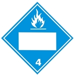 BLANK 4 DIGIT - DANGEROUS WHEN WET, CLASS 4, DOT PLACARD, Choose from 4 Materials: Press on Vinyl, Rigid Plastic, Aluminum or Magnetic.