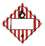 BLANK 4 DIGIT - FLAMMABLE SOLID - CLASS 4 - DOT PLACARD, Choose from 4 Materials: Press on Vinyl, Rigid Plastic, Aluminum or Magnetic.