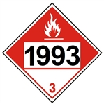 DOT PLACARD 1993 COMBUSTIBLE LIQUID, Flammable Liquid, Class 3 - Choose from 4 Materials: Press On Vinyl, Rigid Plastic, Aluminum or Magnetic