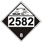 DOT PLACARD 2582 FERRIC CHLORIDE, SOLUTION, Corrosive, Class 8 - Choose from 4 Materials: Press on Vinyl, Rigid Plastic, Aluminum or Magnetic