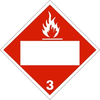 DOT PLACARD FLAMMABLE LIQUID (BLANK BOX) CLASS 3, Choose from 4 Materials: Press on Vinyl, Rigid Plastic, Aluminum or Magnetic.