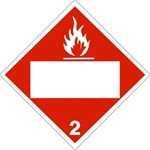 DOT PLACARD FLAMMABLE GAS (BLANK BOX) CLASS 2, Choose from 4 Materials: Press on Vinyl, Rigid Plastic, Aluminum or Magnetic.