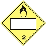 BLANK - OXYGEN - CLASS 2, DOT PLACARD, Choose from 4 Materials: Press on Vinyl, Rigid Plastic, Aluminum or Magnetic.