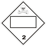 BLANK 4 DIGIT POISON/TOXIC GAS, CLASS 2, DOT PLACARD, Choose from 4 Materials: Press on Vinyl, Rigid Plastic, Aluminum or Magnetic.