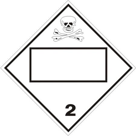 Blank 4 Digit Toxic Gas Class 2 Dot Placard