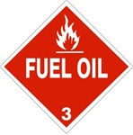 DOT PLACARD FUEL OIL, CLASS 3, Choose from 4 Materials: Press on Vinyl, Rigid Plastic, Aluminum or Magnetic.