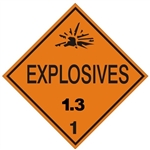 EXPLOSIVES, 1.3  - CLASS 1, DOT PLACARD -  Choose from 4 Materials: Press on Vinyl, Rigid Plastic, Aluminum or Magnetic.