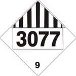 DOT PLACARD 3077 ENVIRONMENTAL HAZARD, SUBSTANCES, SOLID, Mics. Dangerous Goods Class 9, Choose from 4 Materials: Pressure on Vinyl, Rigid Plastic, Aluminum or Magnetic.