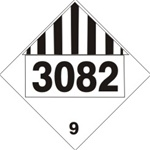 DOT PLACARD 3082 ENVIRONMENTAL HAZARD, SUBSTANCES, LIQUID, Class 9 - Choose from 4 Materials: Press on Vinyl, Rigid Plastic, Aluminum or Magnetic.