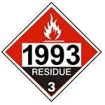 DOT PLACARD 1993 COMBUSTIBLE LIQUID, RESIDUE, Flammable Liquid, Class 3 - Choose from 4 Materials: Press On Vinyl, Rigid Plastic, Aluminum or Magnetic