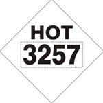 DOT PLACARD 3257 HOT ASPHALT, Choose from 4 Materials: Press on Vinyl, Rigid Plastic, Aluminum or Magnetic.