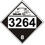 DOT PLACARD 3264 CORROSIVE LIQUID, ACIDIC, INORGANIC, Corrosive, Class 8 - Choose from 4 Materials: Press on Vinyl, Rigid Plastic, Aluminum or Magnetic.
