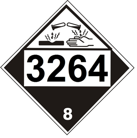 Dot Placard 3264 Corrosive Liquid Acidic Inorganic