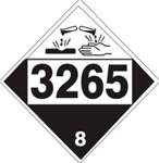 DOT PLACARD 3265 CORROSIVE LIQUID, ACIDIC, ORGANIC, n.o.s., Corrosive, Class 8 - Choose from 4 Materials: Press on Vinyl, Rigid Plastic, Aluminum or Magnetic.