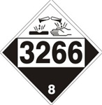 DOT PLACARD 3266 CORROSIVE LIQUID, BASIC, INORGANIC n.o.s., Corrosive, Class 8 - Choose from 4 Materials: Press on Vinyl, Rigid Plastic, Aluminum or Magnetic.