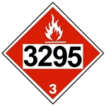 DOT PLACARD 3295, HYDROCARBONS, LIQUID, Flammable Liquid, Class 3 - Choose from 4 Materials: Press On Vinyl, Rigid Plastic, Aluminum or Magnetic