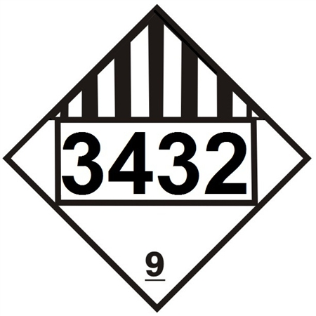 DOT PLACARD 3432 POLYCHLORINATED BIPHENYLS, SOLID, Miscellaneous Dangerous Goods, Class 9 - Choose from 4 Materials: Press on Vinyl, Rigid Plastic, Aluminum or Magnetic.