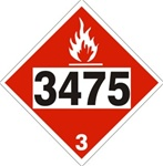 DOT PLACARD 3475 ETHANOL & GAS MIXTURES, Flammable Liquid, Class 3 - Choose from 4 Materials: Press on Vinyl, Rigid Plastic, Aluminum or Magnetic.