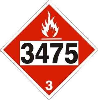 3475 Ethanol Gas Mixtures Dot Placard