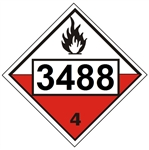 4 DIGIT 3488 SELF-HEATING SOLID, ORGANIC CLASS 4 DOT PLACARD - Choose from 4 Materials: Press On Vinyl, Rigid Plastic, Aluminum or Magnetic