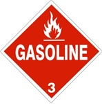 DOT PLACARD - GASOLINE - CLASS 3, Choose from 4 Materials: Press on Vinyl, Rigid Plastic, Aluminum or Magnetic.