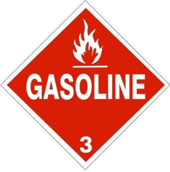 Gasoline Class 3 Dot Placard