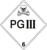 DOT PLACARD - PG III HAZARDOUS MATERIAL - CLASS 6, Choose from 4 Materials: Press on Vinyl, Rigid Plastic, Aluminum or Magnetic.