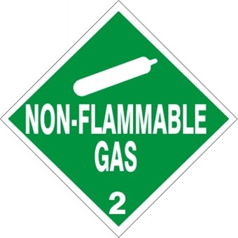 DOT PLACARD NON-FLAMMABLE GAS - CLASS 2, Choose from 4 Materials: Press on Vinyl, Rigid Plastic, Aluminum or Magnetic.